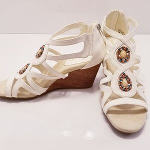 Easy Street strappy wedge sandals with bead accent